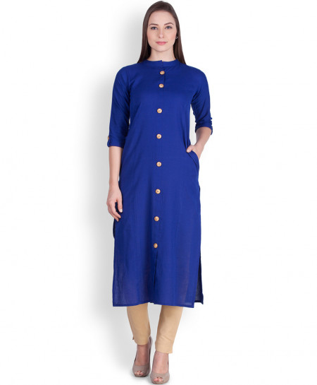 Royal Blue Buttoned A Line Style Ladies Kurti ALK-816
