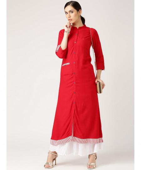 Red Contrast Border Pocket Style Ladies Kurti ALK-818