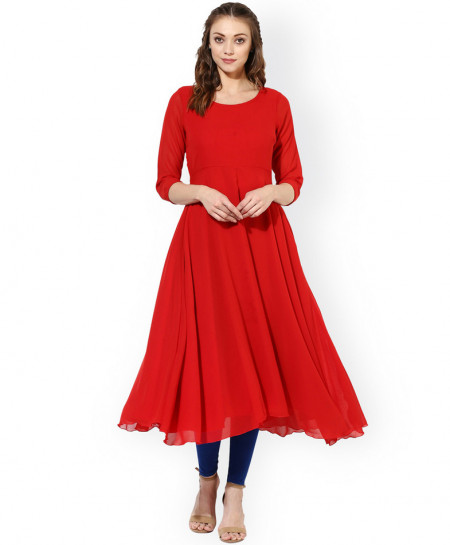 True Red Frock Style Ladies Chiffon Kurti ALK-822