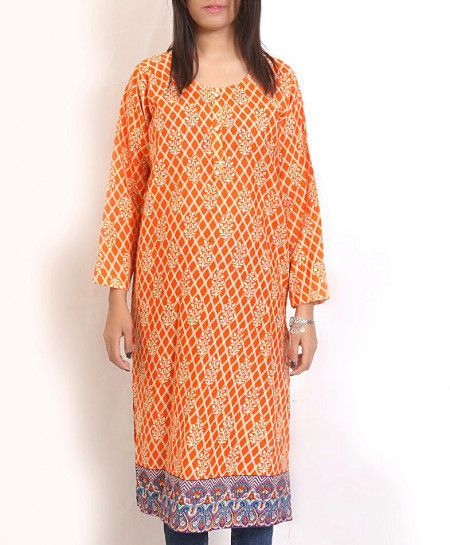 Orange Printed Khaddar Kurti Emo-40