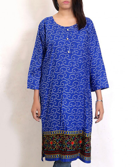 Royal Blue Printed Khaddar Kurti Emo-44