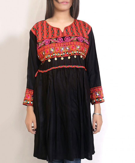 Black Embroidered Women Frock Style Kurti PSW-70