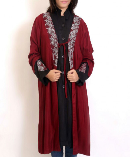 Maroon Black Embroidered Women Gown Style Shirt PSW-73