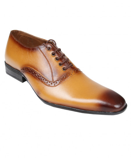 Mustard Brown Leather Formal Shoes LC-5533M