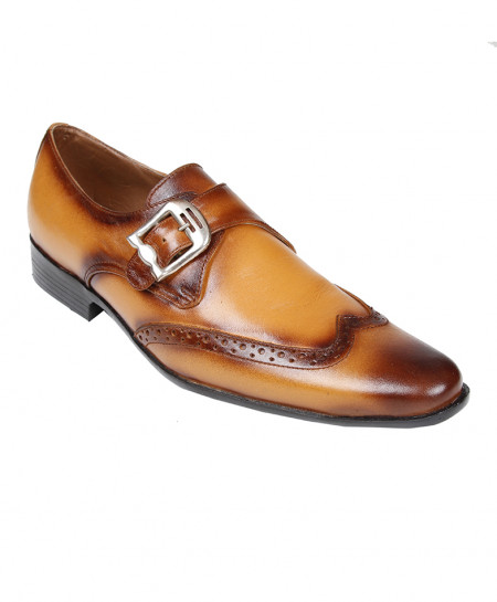 Mustard Leather Side Buckle Stylish Formal Shoes LC-665