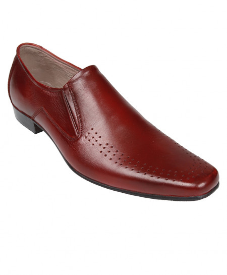 Maroon Leather Dotted Style Formal Shoes LC-0666MR