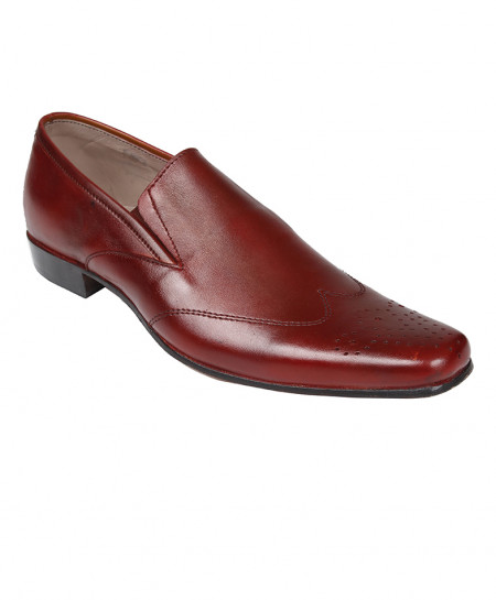 Maroon Leather Formal Shoes LC-AL-5035