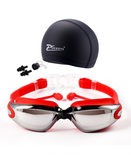 Swim Goggles With Hat and Ear Plug Nose Clip Swim Set AT-4892