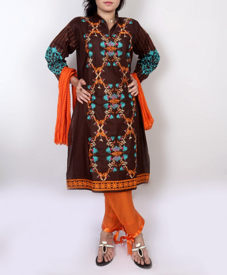 Choco Embroidered Stylish Design Ladeis Suit AKG-108