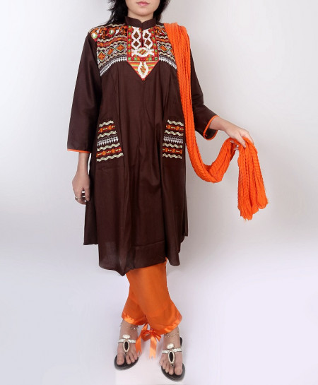 Brown Embroidered Stylish Design Ladeis Suit AKG-109