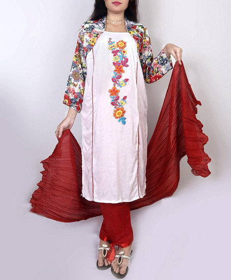 Ivory Embroidery Printed Design Ladeis Suit AKG-119