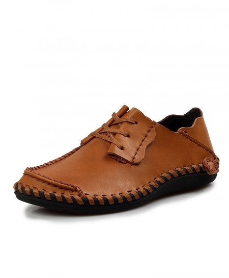 Brown Leather Designer Breathable Comfort Loafers AT-65747