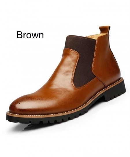 MRCCS Brown Fashion Chelsea Leather Boots