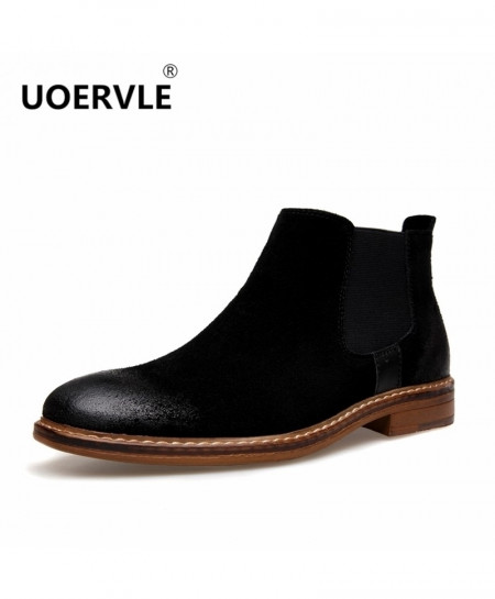UOERVLE Black Chelsea Boots Suede Leather Boot