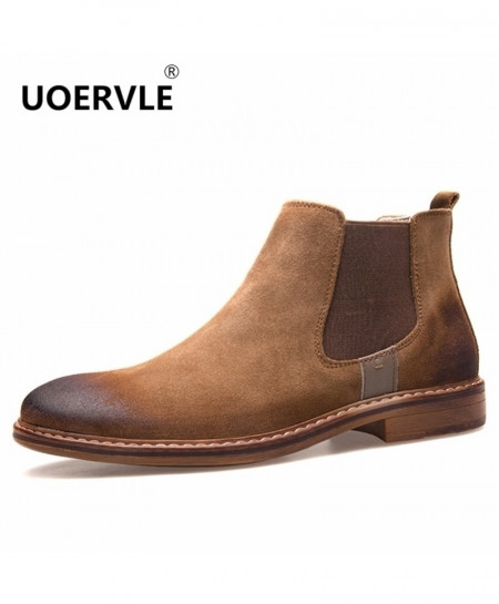 UOERVLE Brown Chelsea Boots Suede Leather Boot