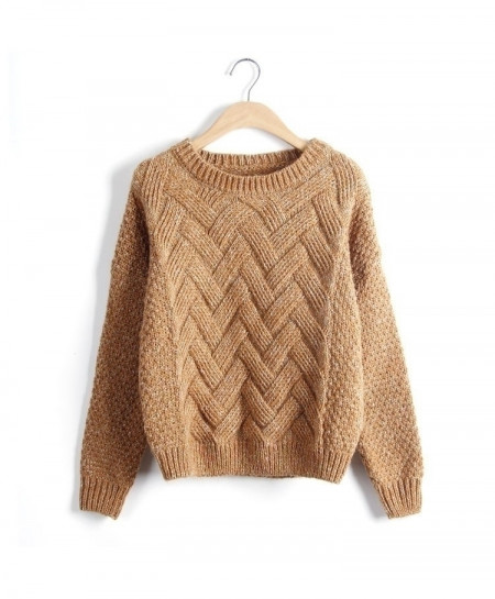 Pullovers Plaid Thick Knitting Loose Variegated Sweaters AT-846