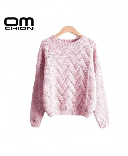 Pullovers Plaid Thick Knitting Loose Variegated Sweaters AT-847