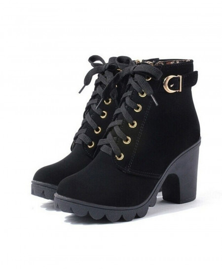 European Black Solid Lace Up Ladies PU Boots AT-5820