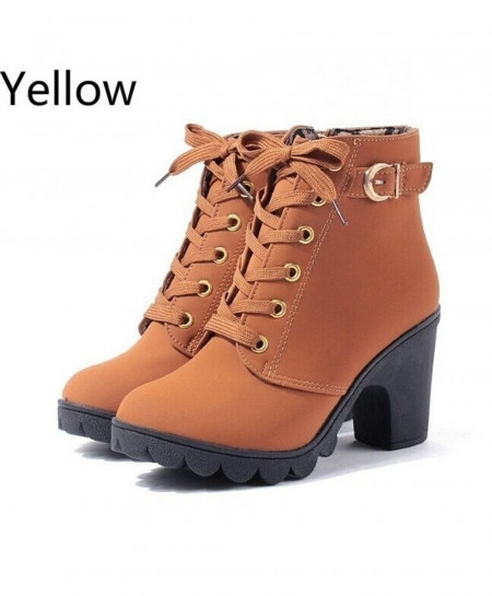 European Solid Lace Up Ladies PU Boots AT-5820
