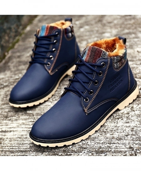 XiaGuoCai Navy Winter Leather Waterproof Tactical Shoes AT-5881