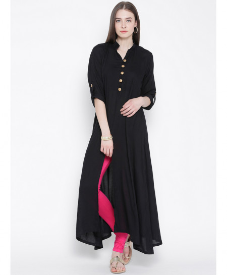 Black Button Neck Frock Style Ladies Kurti ALK-830