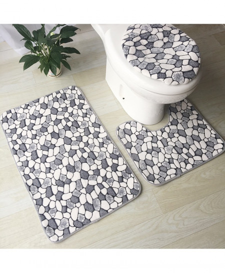 Zeegle 3 Stone Printed Absorbent Flannel Sponge Carpet Mat Set