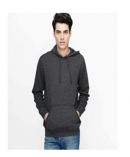 Charcoal Fleece Basic Hoodie QZS-168