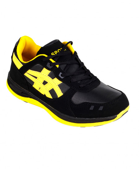 Black And Yellow Comfortable Sports Shoes SPK-013