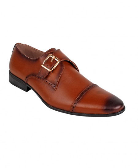 Brown Leather Buckle Style Formal Shoes LC-5558