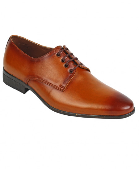 Mustard Brown Leather Lace Up Formal Shoes LC-5561