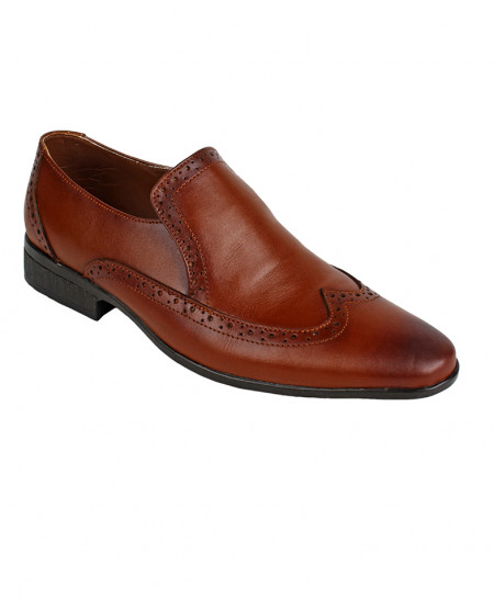 Brown Leather Brogue Formal Shoes LC-5563