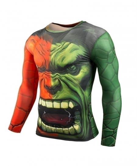Red and Green Hulk Long Sleeve Fitness T-Shirt