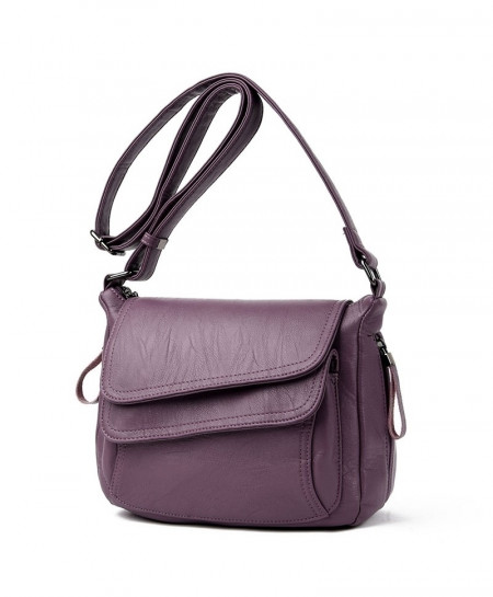 Kavard Purple Leather Designer Handbag