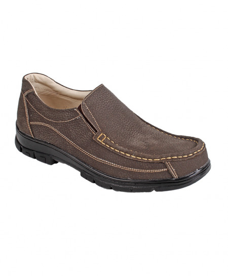 Brown Textured Leather Slip On Digger Shoes LC-5037