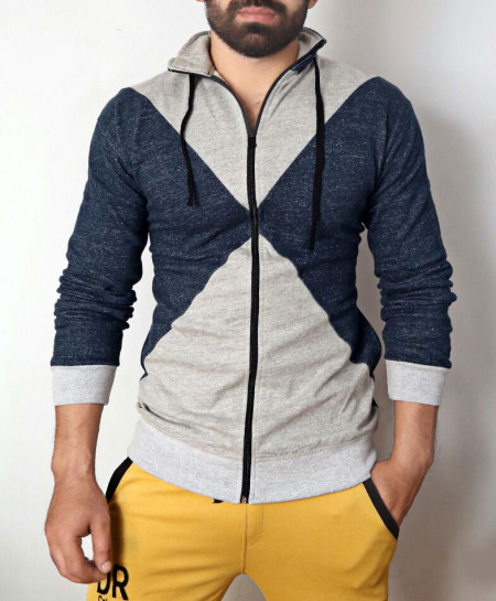 Blue Heather Grey Fleece Zipper Mock Jacket ABSG-015