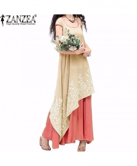 ZANZEA Red Loose Short Sleeve Floral Embroidery Long Maxi Dress AT-4829