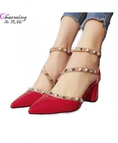 Red Pumps Comfortable Square Heels AT-472