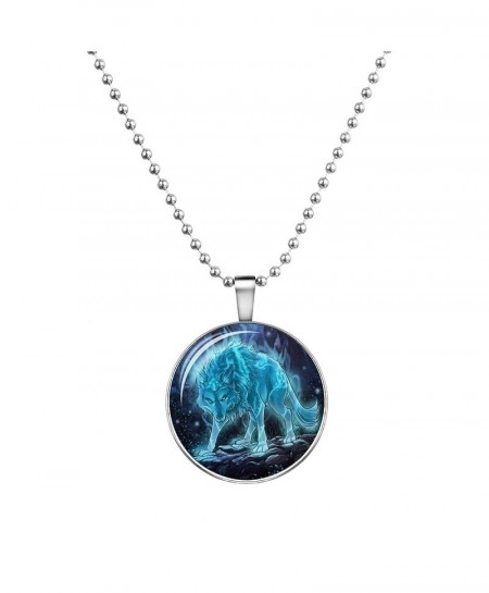 Wolf Cabochon Glass Glowing Pendant Necklaces