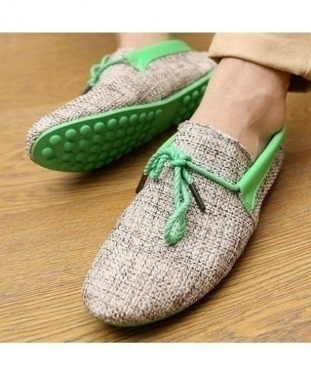 Green Breathable Weaving Lace-up Comfort Loafers AT-4822
