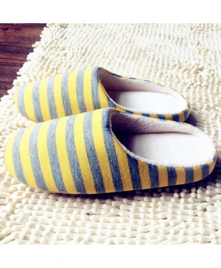 02c8ee91b018 Buy OUTAD Yellow Striped Winter Warm Soft indoor Slippers online in ...