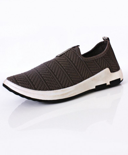 Silver Smoke Woven Style Design Slip On Shoes DR-193