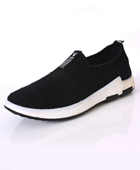 Black Woven Style Design Slip On Shoes DR-194