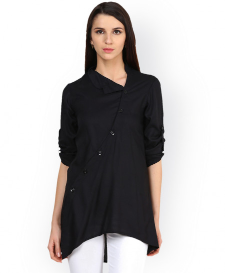 Black Cross Button Style Ladies Top ALK-835
