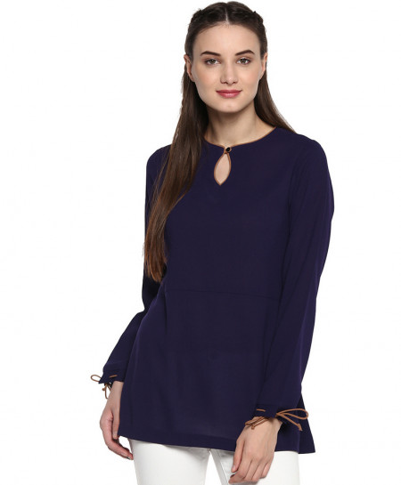 Navy Blue Tipping Neck Style Ladies Top ALK-837