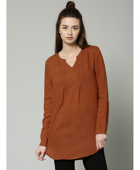 Brown Threaded Y Neck Style Ladies Top ALK-839