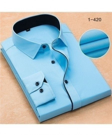 Blue Turn Down Collar Twill Business Formal Shirt