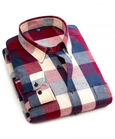 Cotton Long Sleeve Plaid Flannel Slim Fit Men Casual Shirt AT-1812
