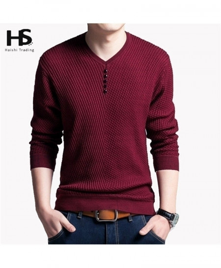 Maroon Pullover Men V Neck Wool Sweater