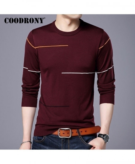 COODRONY Red Wool Slim Fit Sweater