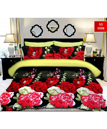 5D Blackish Red Rose Cotton Satin Bedsheet RB-70613